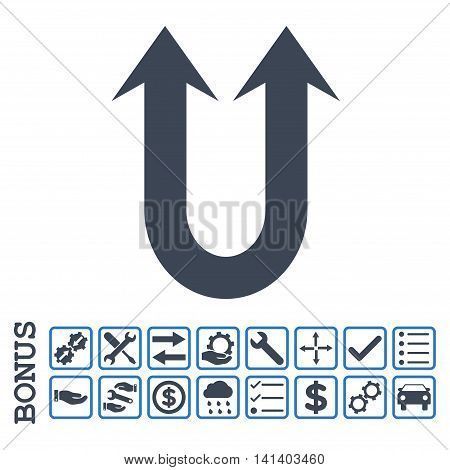 Double Forward Arrow icon with bonus pictograms. Vector style is flat iconic symbol, smooth blue colors, white background. Bonus style is bicolor square rounded frames with symbols inside.