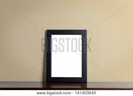 Blank Balck Photo frame on creamy background