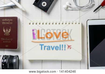 I love travel text on a book for travel agency banner website.