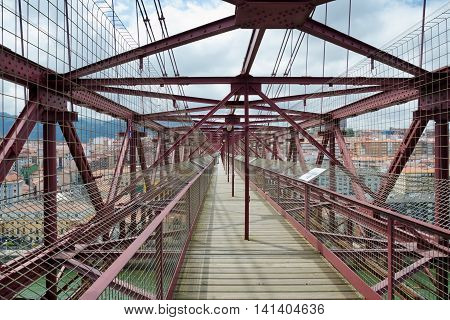 GETXO, near BILBAO. 27th July 2016. The walkway across the top of the transporter bridge in Bilbao makes a fascinating but slightly nerve-wracking viewpoint for the many tourists who visit each year.