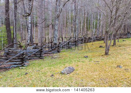 Rustic home made split rail fence in the Great Smoky Mountains National Park Tennessee USA