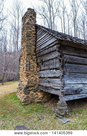 Details of old historic log cabins located in the Great Smoky Mountains National Park Tennessee USA