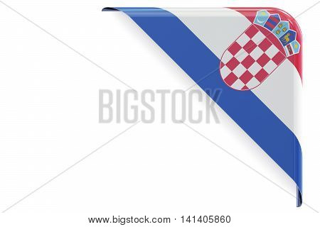 Croatian flag corner button label. 3D rendering isolated on white background