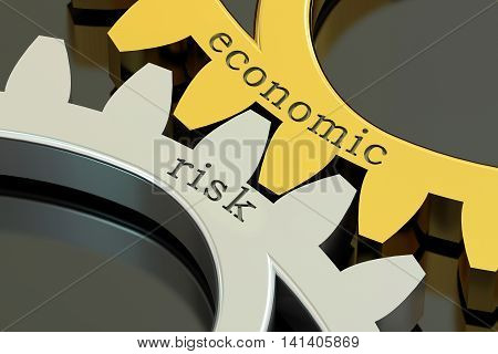 Economic Risk concept on the gearwheels 3D rendering
