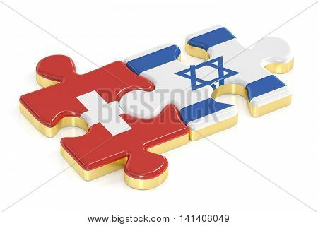 Switzerland and Israel puzzles from flags 3D rendering isolated on white background