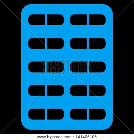 Pill Blister vector icon. Style is flat symbol, blue color, rounded angles, black background.
