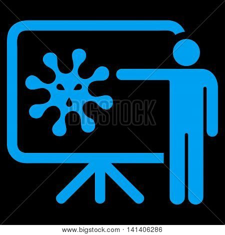 Virus Report vector icon. Style is flat symbol, blue color, rounded angles, black background.