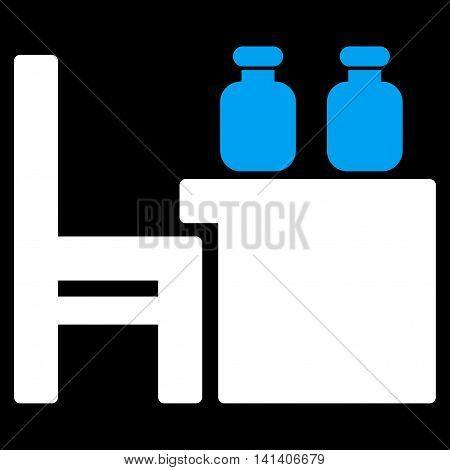 Apothecary Table vector icon. Style is bicolor flat symbol, blue and white colors, rounded angles, black background.