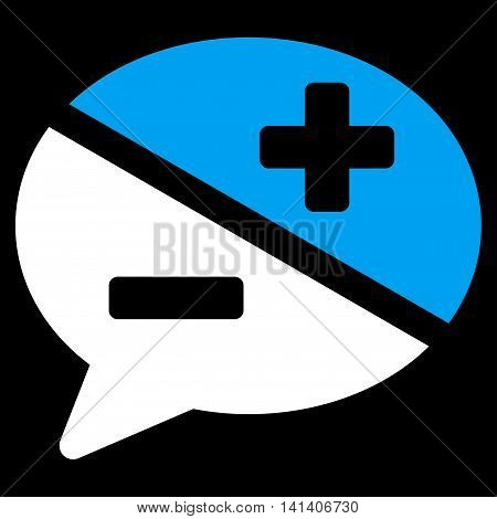 Arguments vector icon. Style is bicolor flat symbol, blue and white colors, rounded angles, black background.