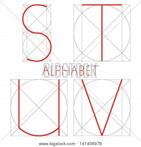 Vector geometric font. Construction of letters alphabet. Red letter in right geometrical form - square and circle. S, T, U, V