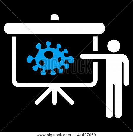 Bacteria Lecture vector icon. Style is bicolor flat symbol, blue and white colors, rounded angles, black background.