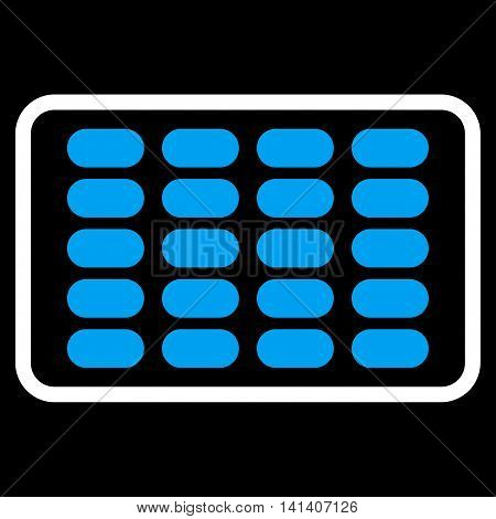Blister vector icon. Style is bicolor flat symbol, blue and white colors, rounded angles, black background.