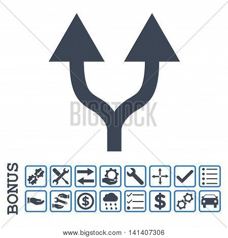 Split Arrows Up icon with bonus pictograms. Vector style is flat iconic symbol, smooth blue colors, white background. Bonus style is bicolor square rounded frames with symbols inside.
