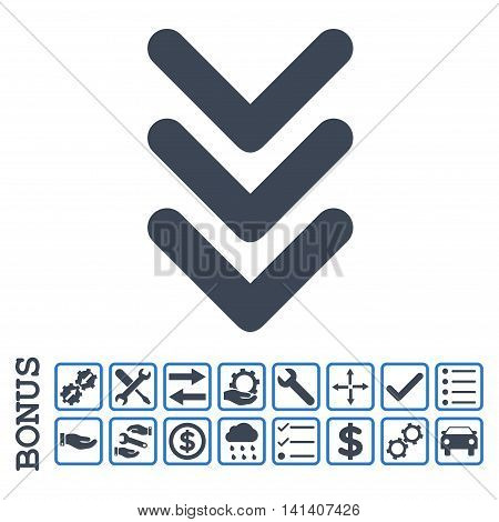 Triple Arrowhead Down icon with bonus pictograms. Vector style is flat iconic symbol, smooth blue colors, white background. Bonus style is bicolor square rounded frames with symbols inside.