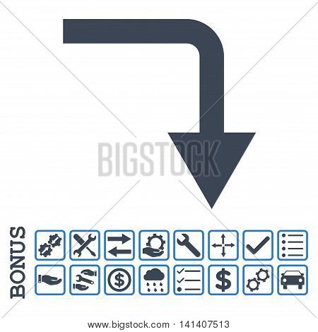 Turn Down icon with bonus pictograms. Vector style is flat iconic symbol, smooth blue colors, white background. Bonus style is bicolor square rounded frames with symbols inside.