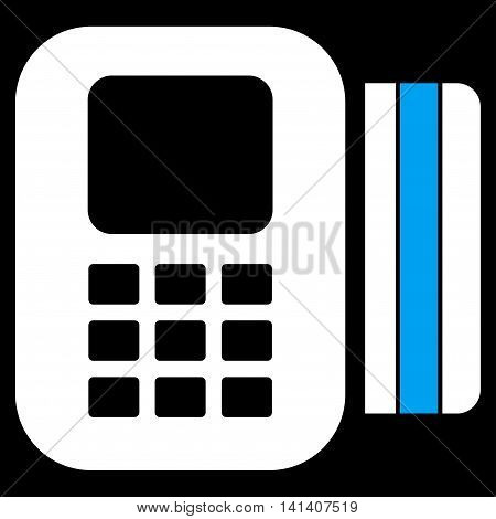 Card Processor vector icon. Style is bicolor flat symbol, blue and white colors, rounded angles, black background.