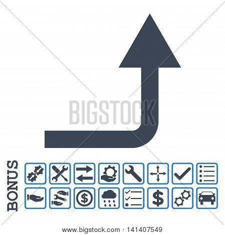 Turn Forward icon with bonus pictograms. Vector style is flat iconic symbol, smooth blue colors, white background. Bonus style is bicolor square rounded frames with symbols inside.