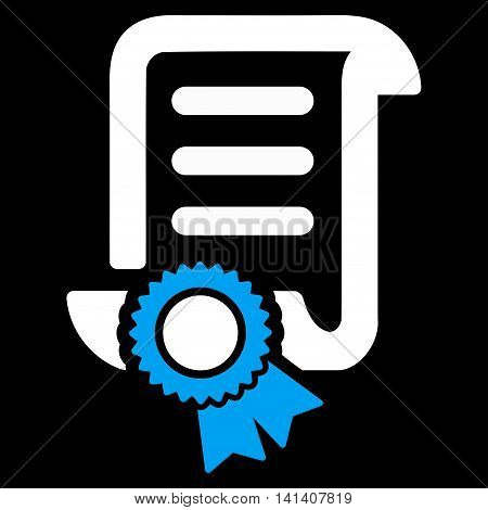 Certified Scroll Document vector icon. Style is bicolor flat symbol, blue and white colors, rounded angles, black background.