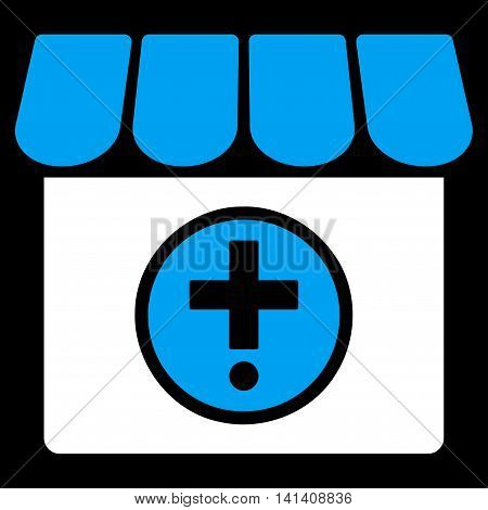 Drugstore vector icon. Style is bicolor flat symbol, blue and white colors, rounded angles, black background.