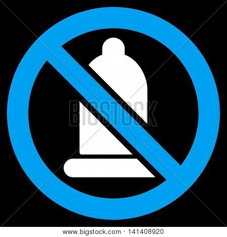 Forbidden Condom vector icon. Style is bicolor flat symbol, blue and white colors, rounded angles, black background.