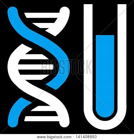 Genetic Analysis vector icon. Style is bicolor flat symbol, blue and white colors, rounded angles, black background.