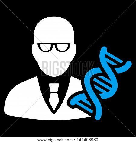 Genetic Engineer vector icon. Style is bicolor flat symbol, blue and white colors, rounded angles, black background.
