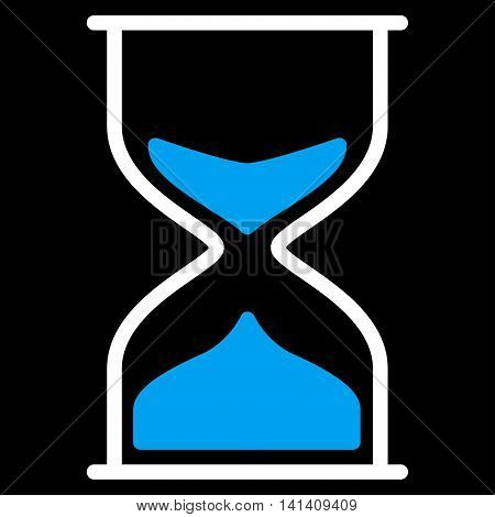 Hourglass vector icon. Style is bicolor flat symbol, blue and white colors, rounded angles, black background.
