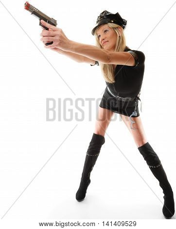 Full length blonde female policewoman cop posing with gun handgun isolated on white background