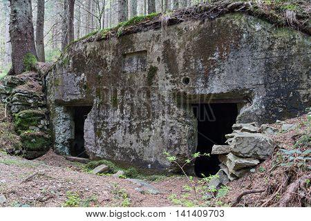 Abandoned fortification line Arpad since World War II. Ukraine