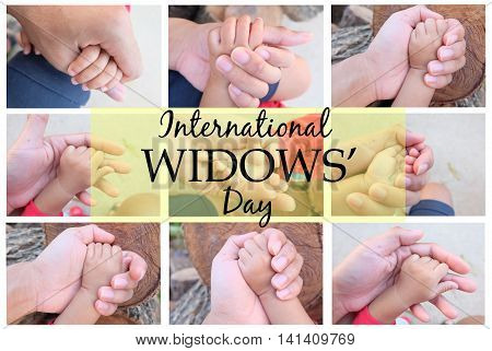 International Widows' Day, father holding baby's hand