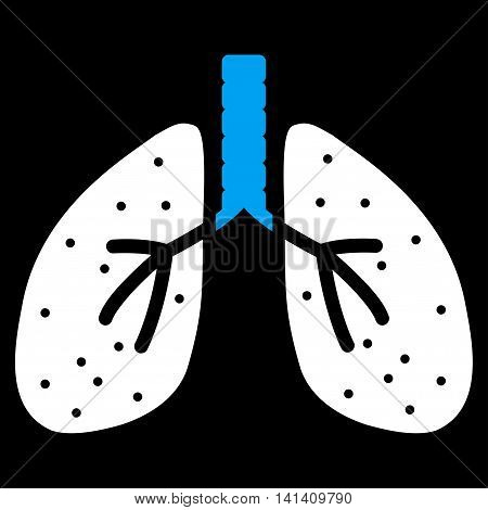 Lungs vector icon. Style is bicolor flat symbol, blue and white colors, rounded angles, black background.