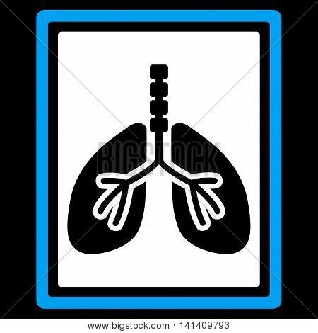 Lungs X-Ray Photo vector icon. Style is bicolor flat symbol, blue and white colors, rounded angles, black background.