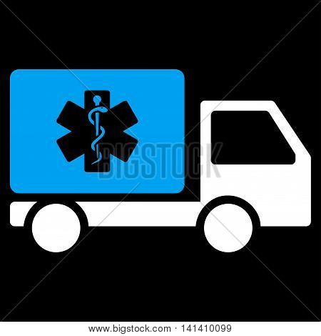 Medical Shipment vector icon. Style is bicolor flat symbol, blue and white colors, rounded angles, black background.