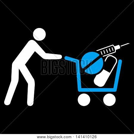 Medical Shopping vector icon. Style is bicolor flat symbol, blue and white colors, rounded angles, black background.