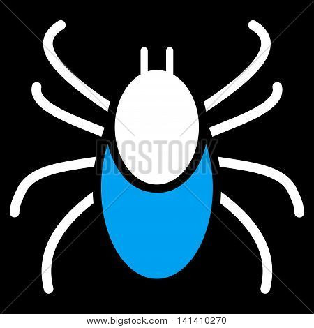 Mite vector icon. Style is bicolor flat symbol, blue and white colors, rounded angles, black background.