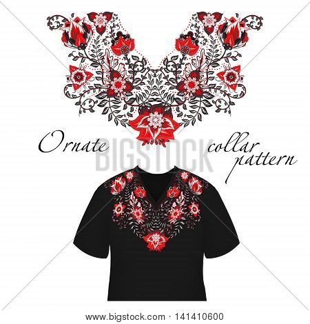 Vector design for collar shirts, shirts, blouses. Colorful ethnic flowers neck. Paisley decorative border. Ornate collar pattern. Red gray.