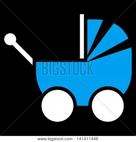 Pram vector icon. Style is bicolor flat symbol, blue and white colors, rounded angles, black background.