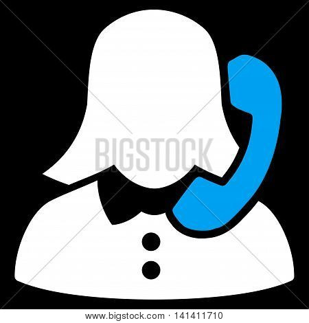 Receptionist vector icon. Style is bicolor flat symbol, blue and white colors, rounded angles, black background.