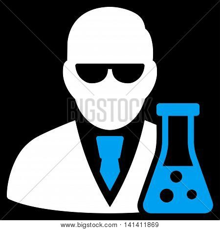 Scientist With Flask vector icon. Style is bicolor flat symbol, blue and white colors, rounded angles, black background.