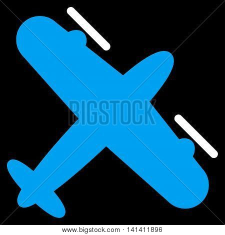 Screw Aeroplane vector icon. Style is bicolor flat symbol, blue and white colors, rounded angles, black background.