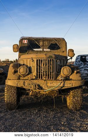 LvivUkraine- December 6 2015: Off-road vehicle brand GAZ - 69 parked in parkservise track after overcoming track competition among fans of Trial near the city Lviv Ukraine