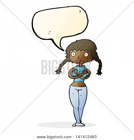 cartoon offended woman covering herself with speech bubble