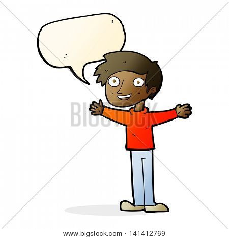 cartoon enthusiastic man with speech bubble
