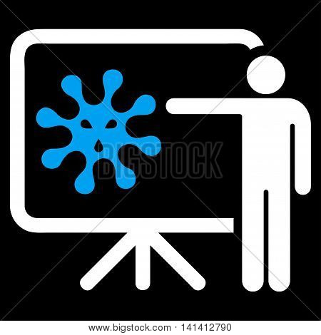 Virus Report vector icon. Style is bicolor flat symbol, blue and white colors, rounded angles, black background.