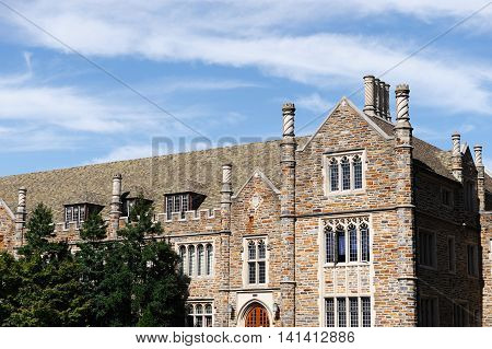 ancient building in Duke University in NC