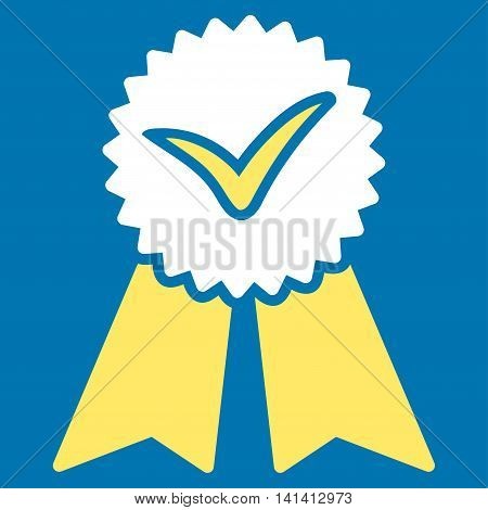Approvement vector icon. Style is bicolor flat symbol, yellow and white colors, rounded angles, blue background.