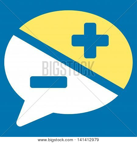 Arguments vector icon. Style is bicolor flat symbol, yellow and white colors, rounded angles, blue background.