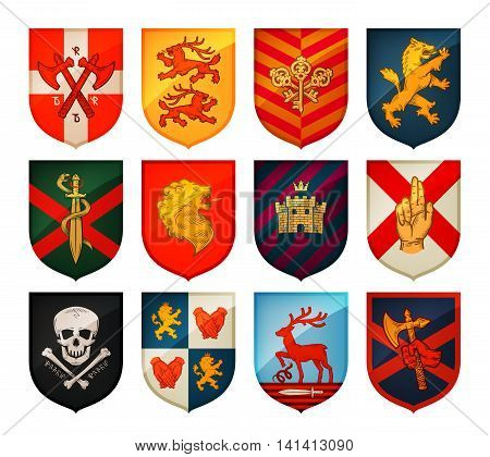 Collection of medieval shields and coat of arms. Kingdom, empire, castle vector symbol