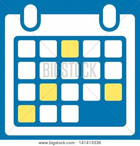Calendar Appointment vector icon. Style is bicolor flat symbol, yellow and white colors, rounded angles, blue background.