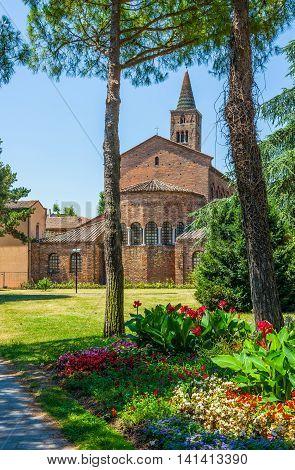 Basilica of San Giovanni Evangelista view from Giardino Speyer garden. Ravenna Emilia-Romagna. Italy.